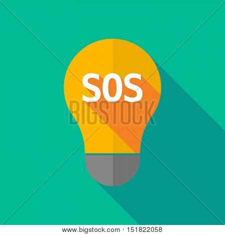 Long Shadow Light Bulb Icon With    The Text Sos
