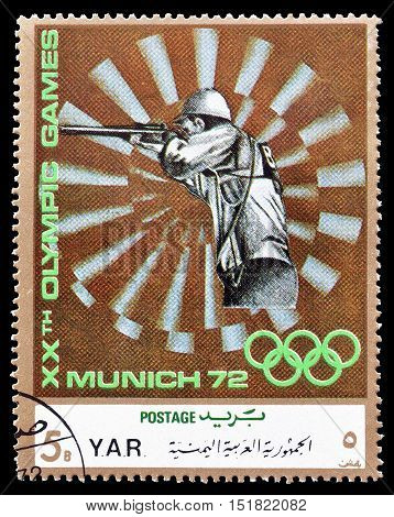 YEMEN - CIRCA 1971 : Cancelled postage stamp printed by Yemen, that shows Small Bore shooting.