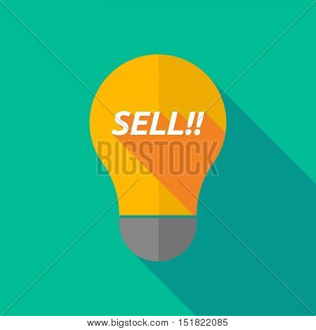 Long Shadow Light Bulb Icon With    The Text Sell!!