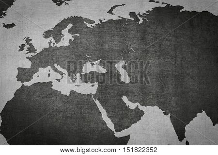 Eurasia Europe Asia map on vintage background - world map poster