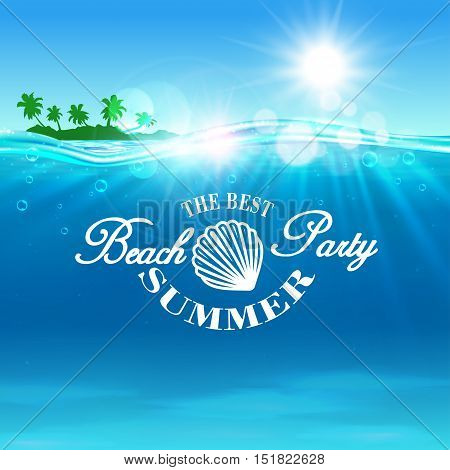 Beach Party poster. Summer travel postcard background with ocean water, shining sun, tropical palm island and shell outline. Template for banner, advertising agency flyer, greeting card