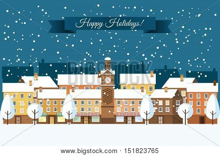 Winter town, snowy street. Urban winter landscape. Christmas card. Happy Holidays banner. Vector illustration flat design.