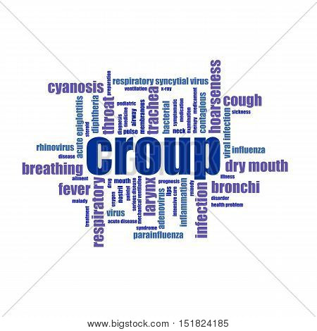 Croup word cloud collage illustration. Medicine, treatmen, cough