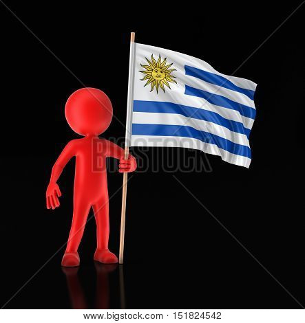3D Illustration. Man and Uruguayan flag. Image with clipping path