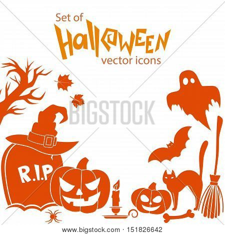 Set of Halloween icons. Vector stock illustration.
