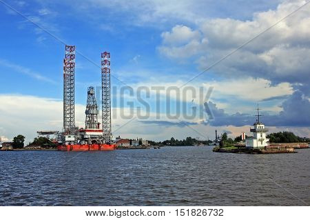 Kronstadt Russia - 10 July 2016: Jack-up floating drilling rig