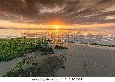Sunrise island view beach Victoria British Columbia Canada