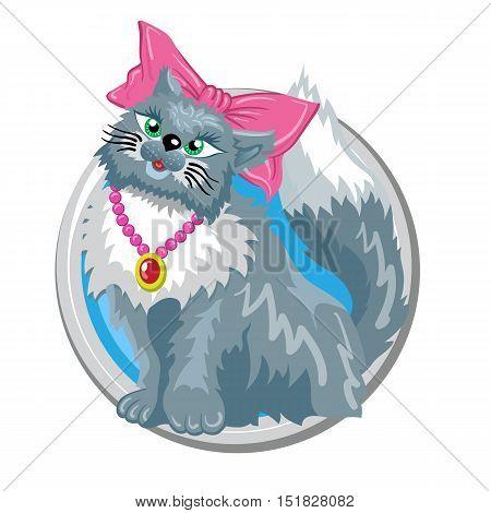 Virgo. Horoscope sign in circle isolated. Cat. Zodiac