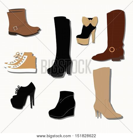 collection of trendy women shoes for fall. The pattern or icon for the store or overstock. Vector illustration