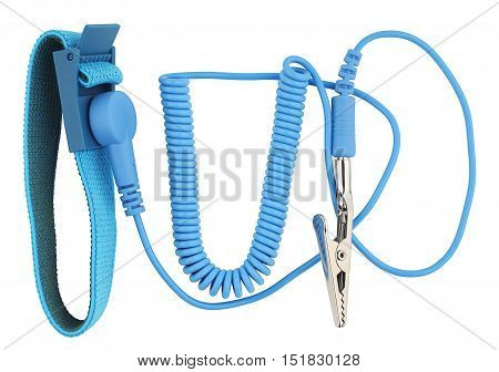 Antistatic wrist strap or ground bracelet is an antistatic device used to safely ground a person working on very sensitive electronic equipment. Object is isolated on white background without shadows.