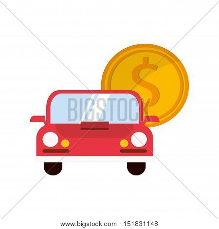 flat design car and money coin icon vector illustration