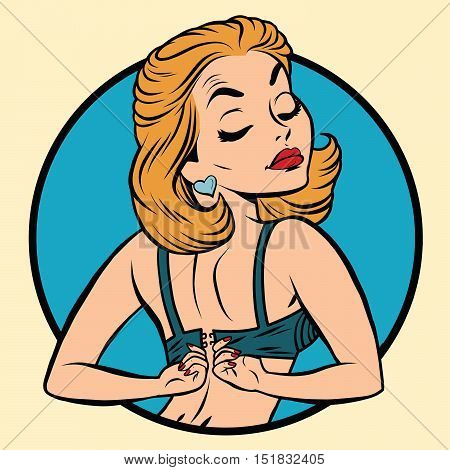 Pin-up girl wears a bra, pop art comic illustration