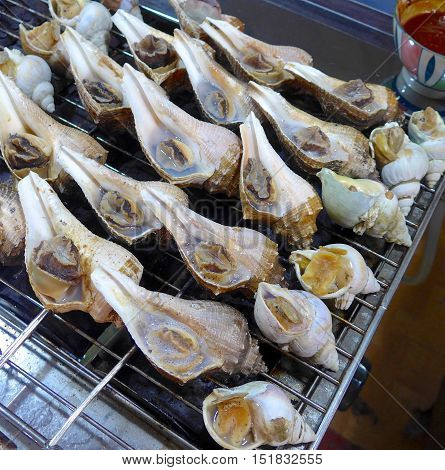 Grilled conch closeup at market in Taiwan