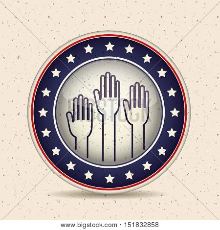 Hands inside button icon. Vote election and government theme. Isolated design. Vector illustration