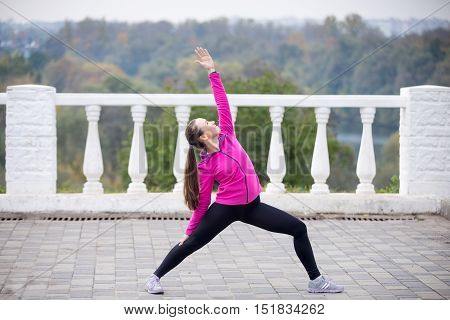 Sporty beautiful smiling young woman practicing yoga, standing in Reverse Warrior Pose, Viparita Virabhadrasana, working out outdoor on summer day wearing sportswear sweatshirt. Full length, side view