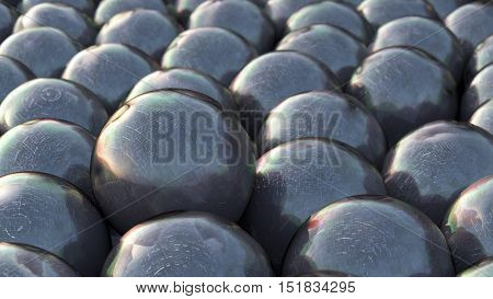 3D rendering black spheres of the same size