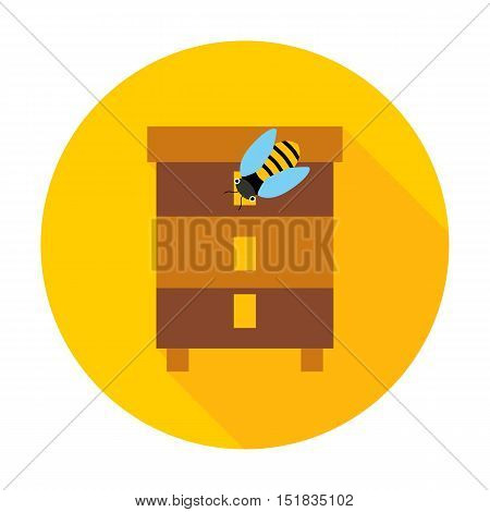 Honey bee hive circle icon. Vector illustration of beehive.