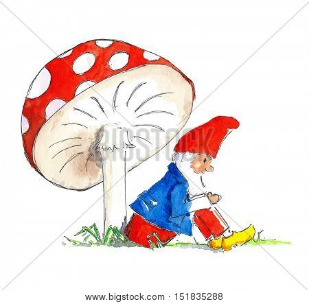 Illustration little gnome sitting under red and white mushroom
