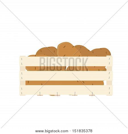 Vector illustration potatoes isolated on white background. Eco vegetable. Potato tuber. Wooden box full with potatoes