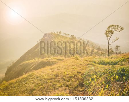 Vintage natural scene of mountain in Thailand