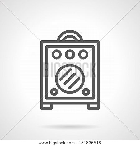 Cabinet or speakers for electric and acoustic guitar. Combo amplifier box. Professional musical equipment and accessories. Simple black line style vector icon.