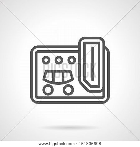 Guitar effect processor with pedal. Professional musical equipment, instruments for studio, concert, music recording. Simple black line style vector icon.