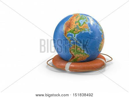3D illustration: concept travel - Globus is located in the centre as a lifeline. Presented on a white background.