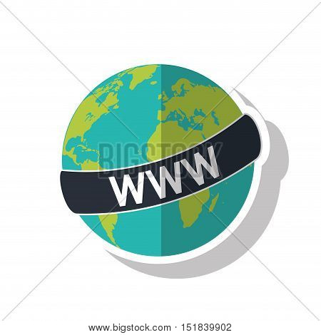 Planet sphere icon. Global communication intenet connectivity web and technology theme. Isolated design. Vector illustration