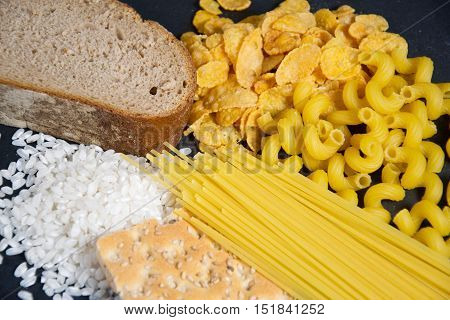 a symbol photo for gluten with bread rice and pasta