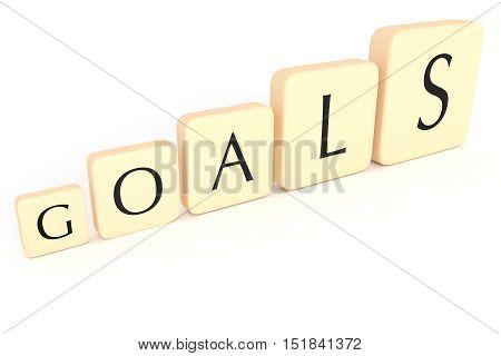 Bigger Goals: Growing Letter Tiles Forming The Word Goals 3d illustration