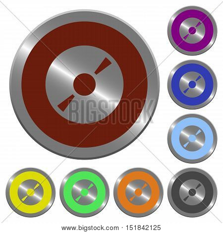 Set of color glossy coin-like DVD disk buttons