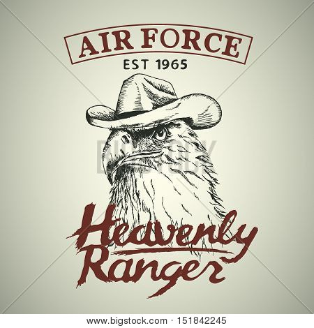 Eagle is a heavenly ranger.Hand drawn style. Prints design for t-shirts