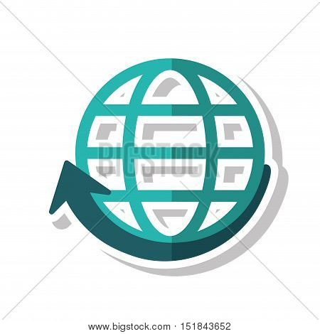 sphere and arrow icon. Global communication intenet connectivity web and technology theme. Isolated design. Vector illustration
