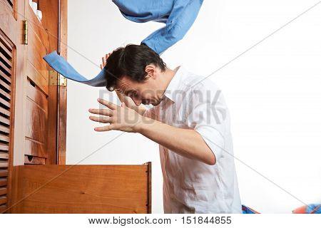 Man Throw Blue Pants