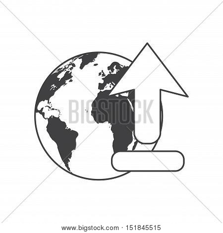 Planet sphere and arrow icon. Global communication intenet connectivity web and technology theme. Isolated design. Vector illustration