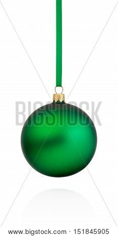 Green Christmas bauble hanging on ribbon Isolated on white background