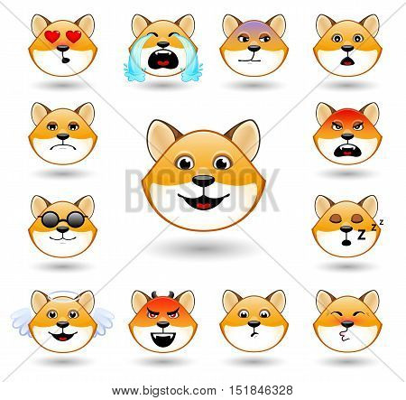 A set of emoticons. Fox. Isolated vector illustration on white background. Colored icons.