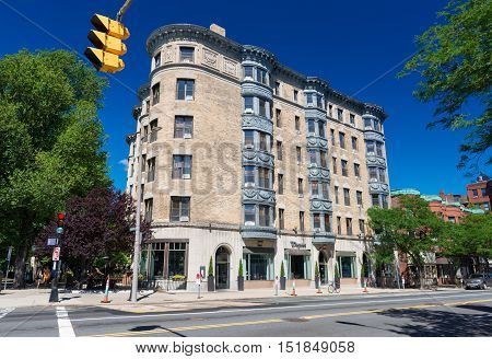 Boston Massachusetts - June 2016, USA: Old building with balconies in perspective view on one of the streets in Back Bay