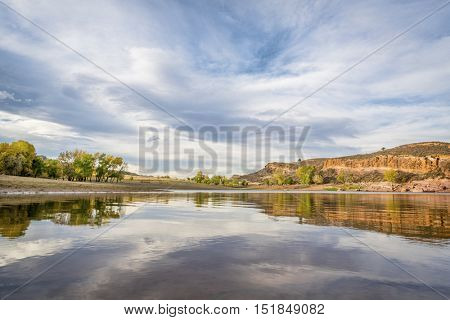 One of bays of Horsetooth Reservoir near Fort COllins, COlorado - wide angle view with a fall scenery