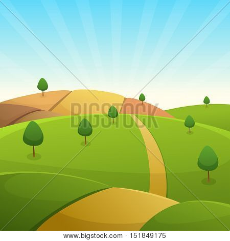 Green hills with trees and country road, cartoon vector illustration.