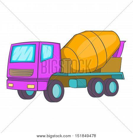 Concrete mixer icon. Cartoon illustration of concrete mixer vector icon for web