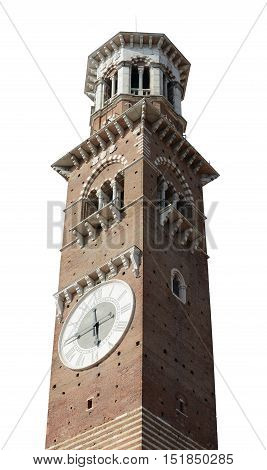 Lamberti Tower in Piazza delle Erbe Verona Italy isolated on white.