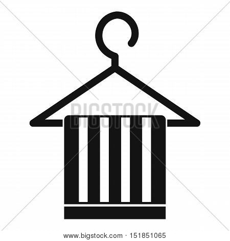 Scarf on a coat hanger icon. Simple illustration of scarf on a coat hanger vector icon for web