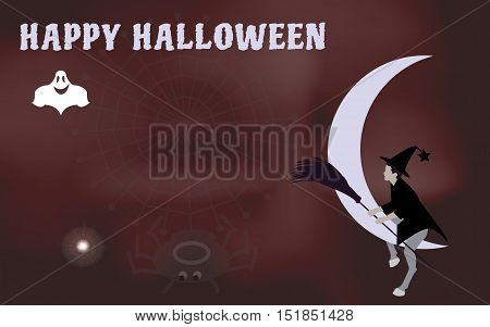 Vector illustration of a witch with a broom to ride on the moon come Halloween