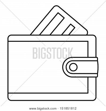 Wallet with credit card icon. Outline illustration of wallet with credit card vector icon for web