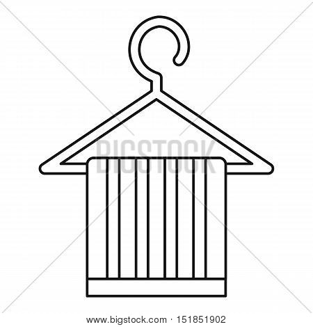 Striped scarf on a coat hanger icon. Outline illustration of scarf on a coat hanger vector icon for web
