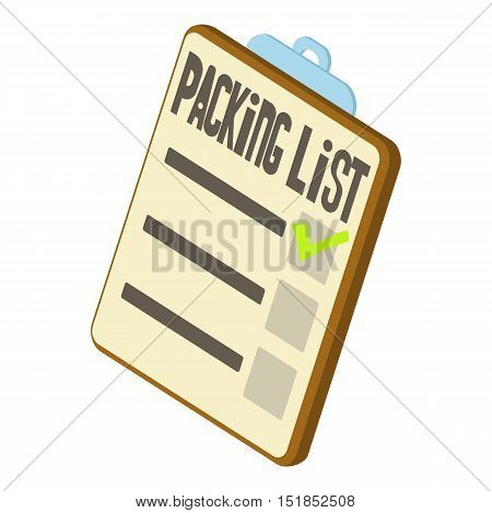 Packing list icon. Isometric 3d illustration of packing list vector icon for web