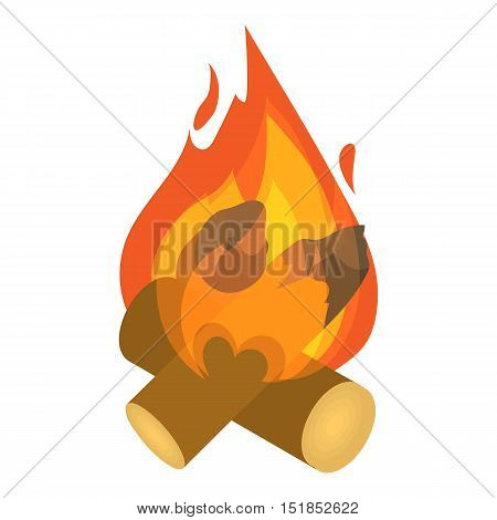 Burning bonfire icon. Isometric 3d illustration of bonfire vector icon for web