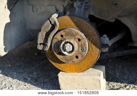 Car disc break with rusty bolts outside