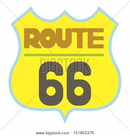 Yellow route 66 shield icon. Cartoon illustration of route 66 shield vector icon for web